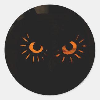 De Sticker van Halloween met Oranje Ogen