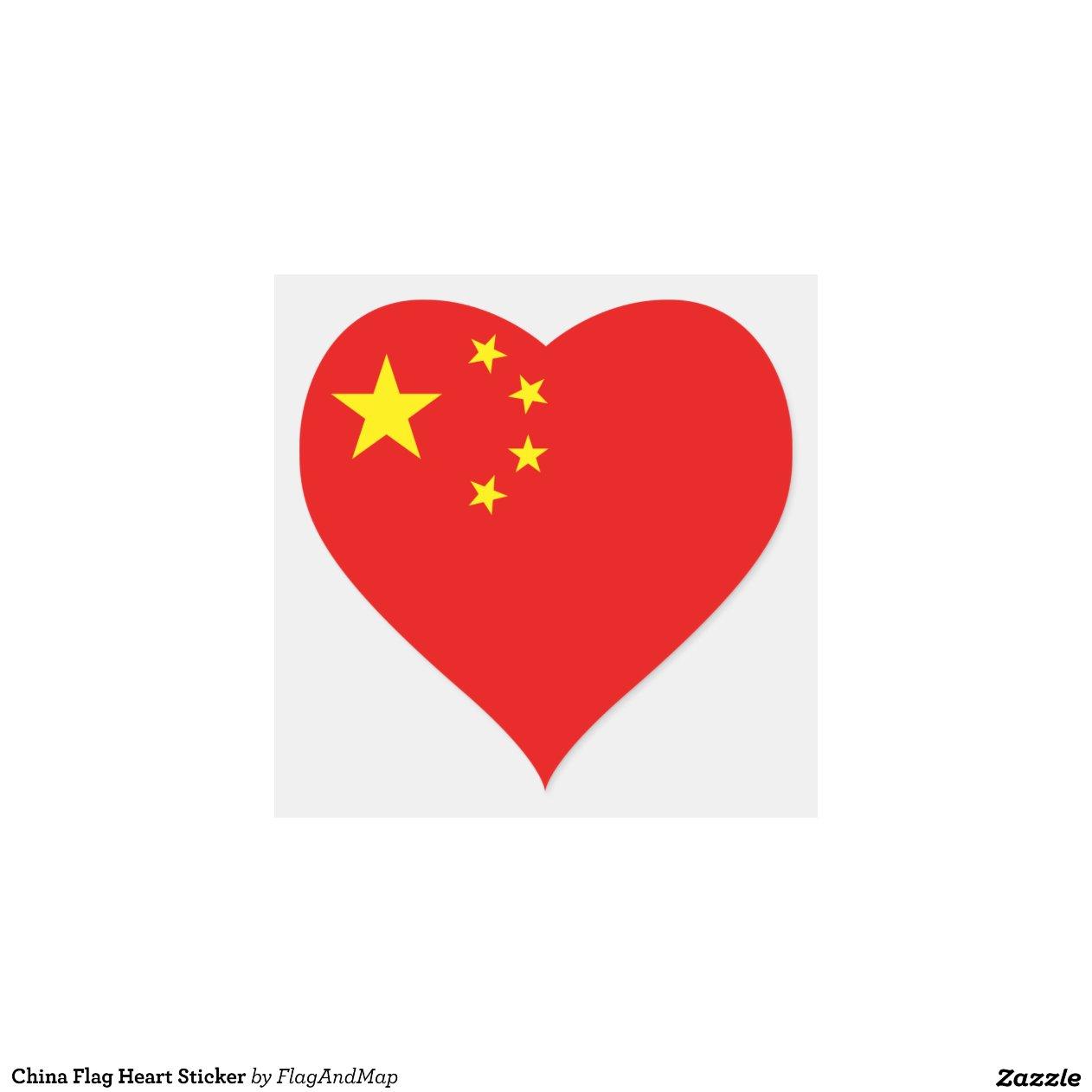De sticker van het hart van de vlag van china zazzle for Door het hart van china