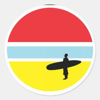 De Sticker van Surfer van de zonsondergang