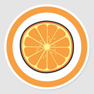 De stickeretiketten van de oranje aroma visuele ronde sticker