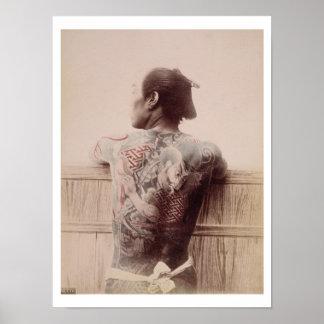 De Tattoos van de Japanse Bruidegom, c.1880 (foto) Poster