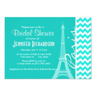 De Toren van Eiffel op de Chevron van de Kleur 12,7x17,8 Uitnodiging Kaart