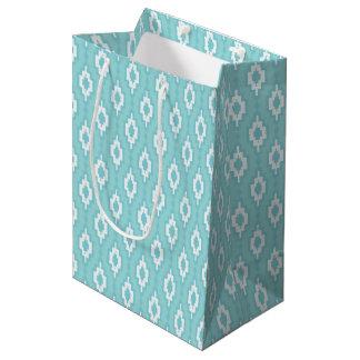 De trellis bleu rhombique doucement - showe de sac cadeau moyen