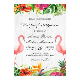De tropische BloemenUitnodiging van het Huwelijk 12,7x17,8 Uitnodiging Kaart