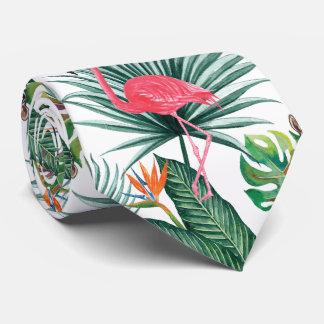 De tropische Roze Flamingo van de zomer + Feest Stropdas