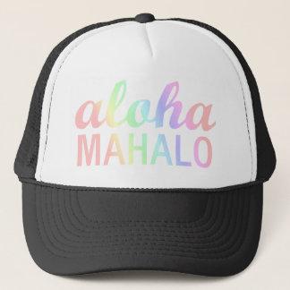 De Typografie van Aloha Mahalo van de Regenbogen Trucker Pet