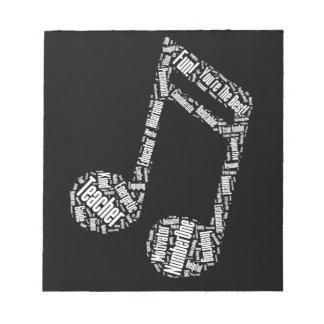 de typografie van de de giftmuzieknoot van de notitieblok