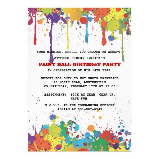 De Uitnodiging van de Kleuren van Paintball