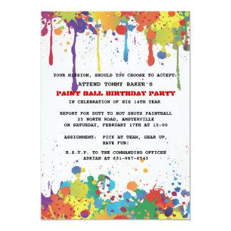 De Uitnodiging van de Kleuren van Paintball 12,7x17,8 Uitnodiging Kaart