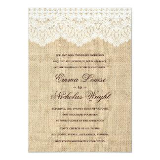 De Uitnodigingen van het Huwelijk van de jute en 12,7x17,8 Uitnodiging Kaart