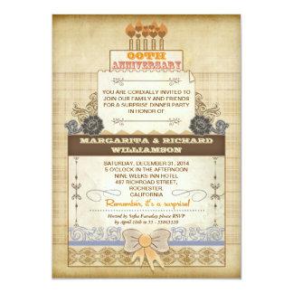 de unieke vintage cake van de huwelijksverjaardag 12,7x17,8 uitnodiging kaart