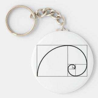 De Verhouding van Fibonacci Basic Ronde Button Sleutelhanger