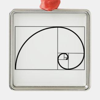 De Verhouding van Fibonacci Zilverkleurig Vierkant Ornament