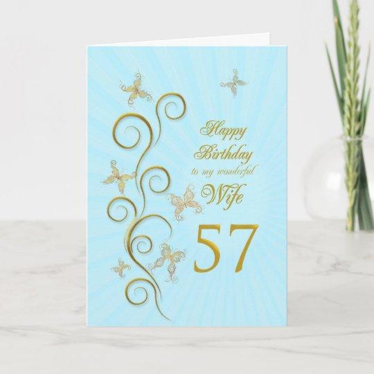 De Verjaardag Van De Vrouw Zevenenvijftigste Met Kaart Zazzle Be