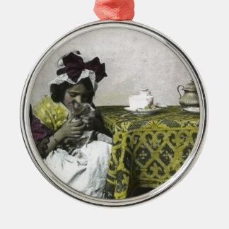 De Victoriaans Tijd van de Speen van het Meisje Zilverkleurig Rond Ornament