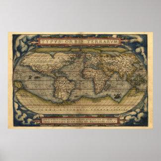 De vintage Druk van de Kaart van de Atlas van de Poster