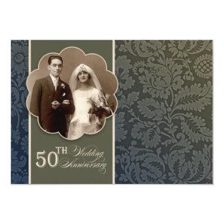 de vintage elegante 50ste huwelijksverjaardag 12,7x17,8 uitnodiging kaart