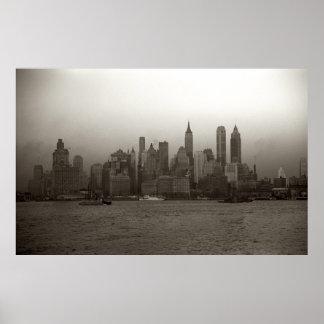 De vintage Foto van de Horizon van de Stad van New Poster