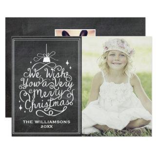 De vintage Foto van Kerstmis van de Typografie van 12,7x17,8 Uitnodiging Kaart