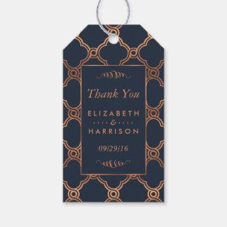 De vintage Geometrische Gunst van het Huwelijk van Cadeaulabel