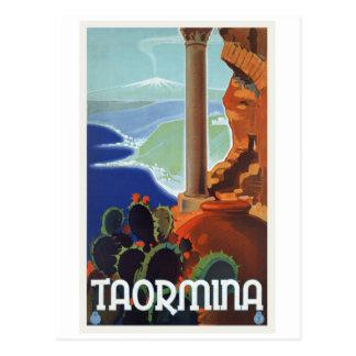 De Vintage Reis Europa van Italië van Taormina Briefkaart