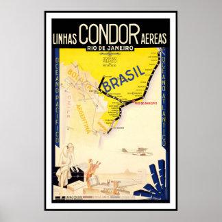 De Vintage Reis van Brazilië Poster