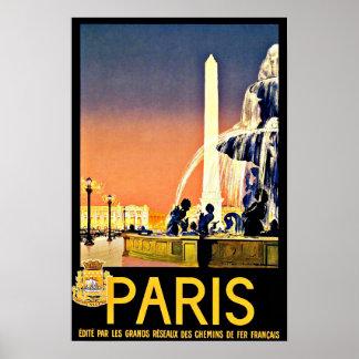 De Vintage Reis van de Fontein van Parijs Poster