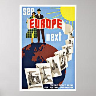De vintage Reis ziet Europa Poster