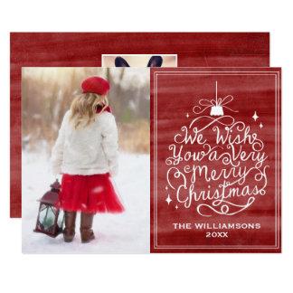 De vintage Rode Foto van Kerstmis van de 12,7x17,8 Uitnodiging Kaart