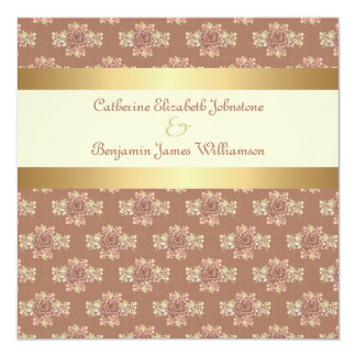 De vintage Room van Rozen en Gouden Huwelijk 13,3x13,3 Vierkante Uitnodiging Kaart