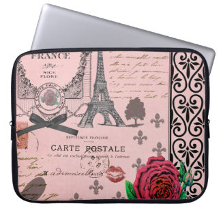 De vintage Roze Collage van Parijs Laptop Sleeve