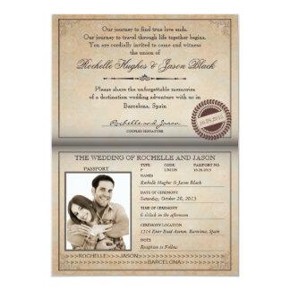 De vintage Uitnodiging van het Paspoort 12,7x17,8 Uitnodiging Kaart