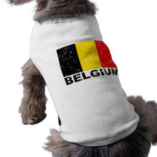 De Vintage Vlag van België Tshirt Voor Honden