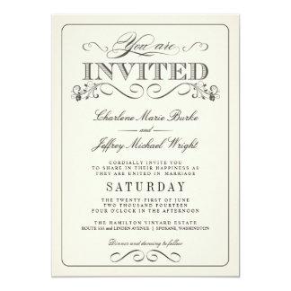 De vintage Witte Elegante Uitnodigingen van het