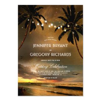 De vintage Zonsondergang van het Strand | Huwelijk Kaart