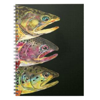 De Vissers van de Vlieg van de forel Ringband Notitieboek