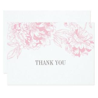 De vlakte dankt u Kaarten   Roze BloemenOntwerp 8,9x12,7 Uitnodiging Kaart