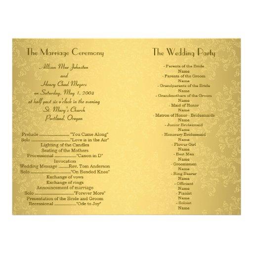 De Vlieger van het Programma van het Huwelijk van  Folders