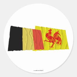De Waalse van het Gebied Golvende Vlaggen van Ronde Stickers