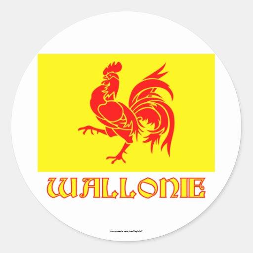 De Waalse Vlag van het Gebied met Naam Ronde Stickers