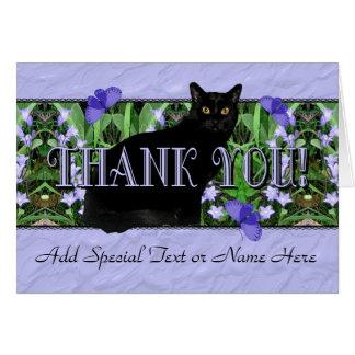 De waardige Zwarte Kat en Wildflowers danken u Kaart