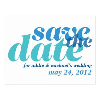 De ware blauwe gewaagde huwelijksaankondiging briefkaart