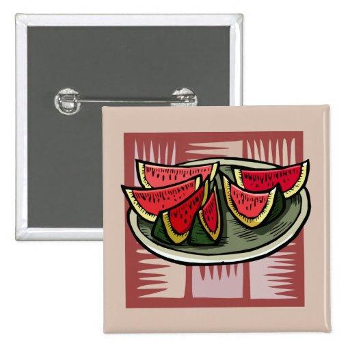 De watermeloen snijdt Moderne Druk Speldjes