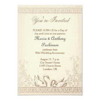 de wijnoogst van de het huwelijksverjaardag van 12,7x17,8 uitnodiging kaart