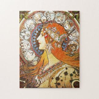 De Wijnoogst van de Jugendstil van Alphonse Mucha Puzzel