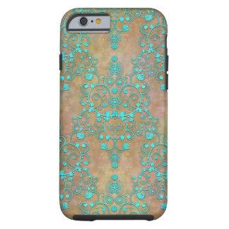 De Wintertaling van Aqua over het Bruine Vintage Tough iPhone 6 Hoesje