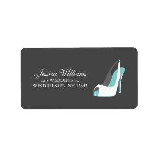 De witte en Blauwe Schoenen van de Bruid Addressticker