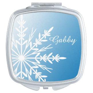 De witte Sneeuwvlok van de Winter op Blauw Make-up Spiegeltje