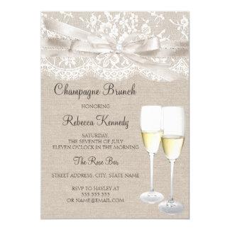 De witte Vintage Brunch van Champagne van het Kant 12,7x17,8 Uitnodiging Kaart