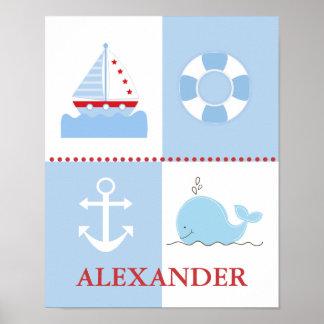De zeevaart Druk van de Kunst van de Walvis van he Poster
